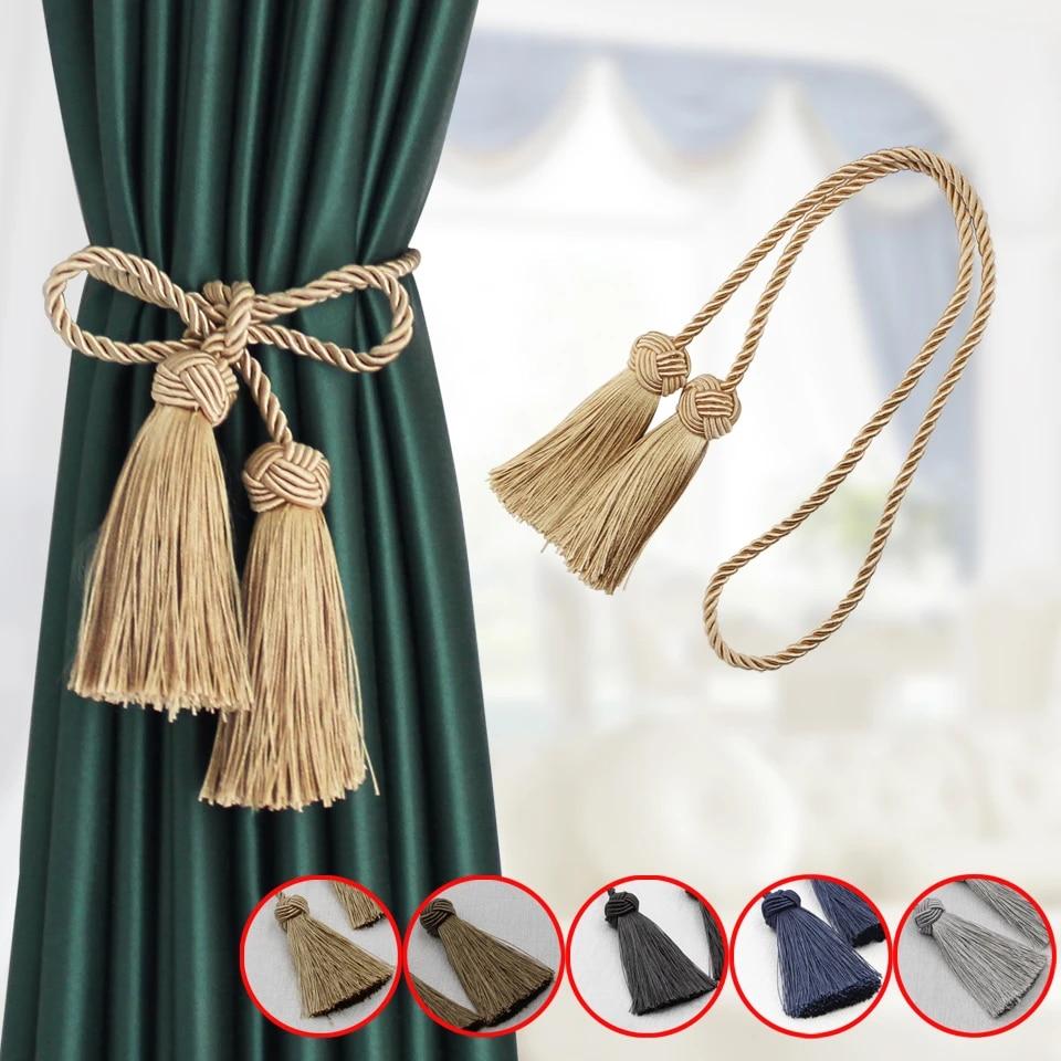 1pc room accessories tassel curtain tieback fringe handmade curtain tie backs hanging ball buckle rope curtains holder bandage