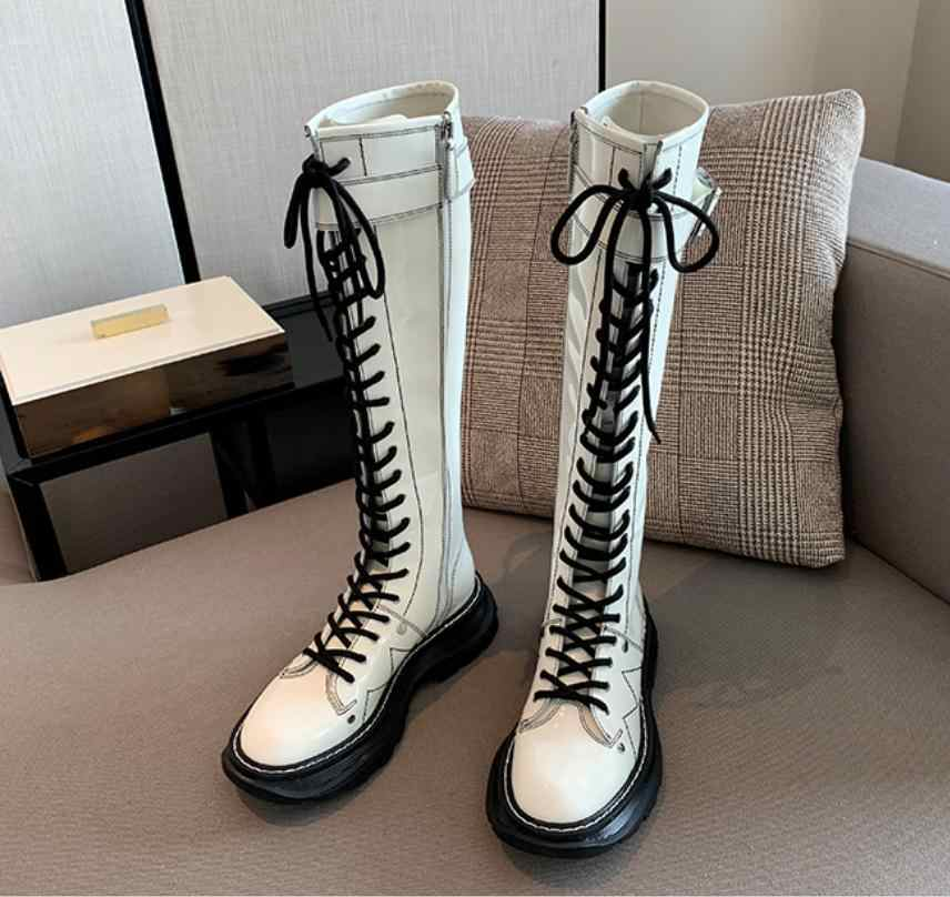 Thigh High Boots Women Luxury Botas Mujer Lace Up Shoes Women Thick Sole Botines Mujer Fashion Buty Damskie Leather Footwear