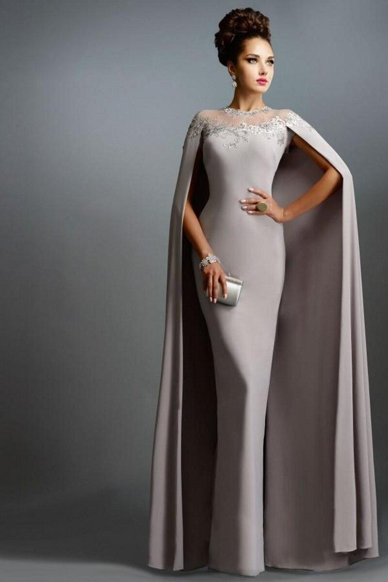 Alla Moda Del Merletto di Applique Della Sirena Arabia Saudita da Sera Wrap Unico Formale Abito di Promenade di Lunghezza Del Pavimento Abiti Madre Della Sposa Abiti