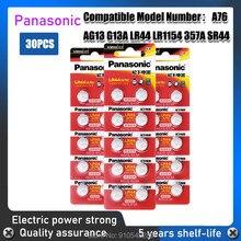 30pc 100% original panasonic alcalino botão baterias lr44 ag13 357 357a a76 gpa76 botão célula 1.5v para relógio eletrônico remoto