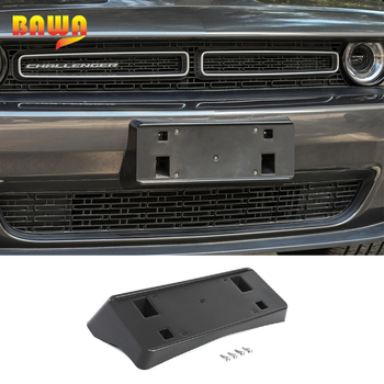 BAWA Car Exterior Front License Plate Bracket Holder Decoration Aeccessories For Dodge Challenger 2015+ ABS Car Styling
