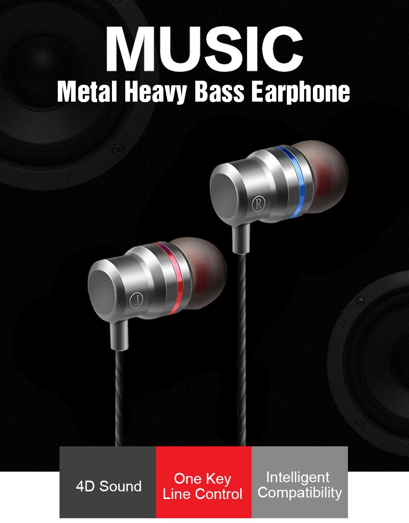 TOMKAS Wired Earbuds Headphones 3.5mm In Ear Earphone Earpiece With Mic Stereo Headset 5 Color For Samsung Xiaomi Phone Computer (2)