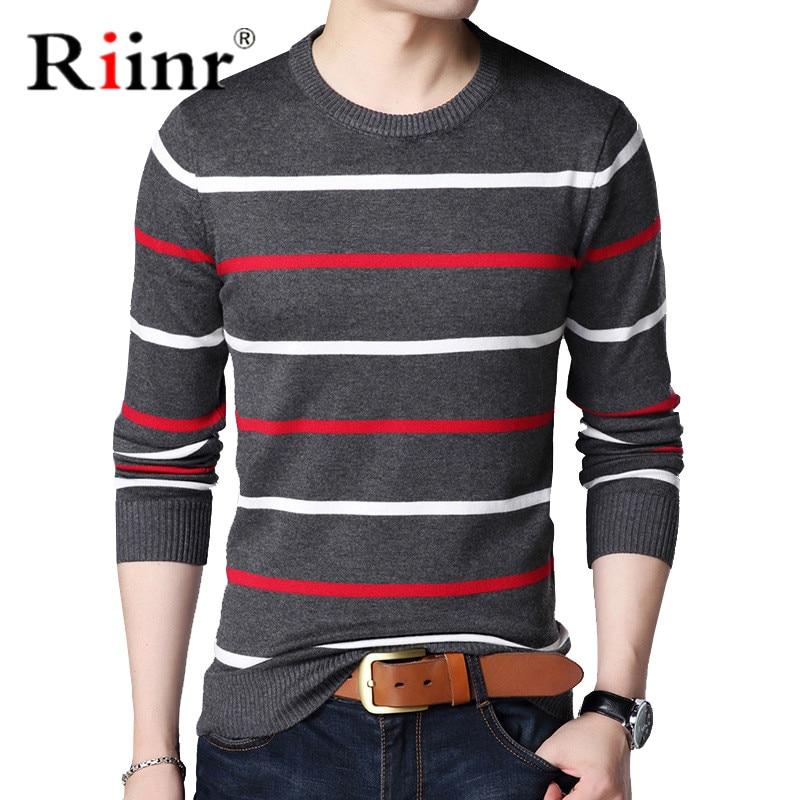Riinr Pullover Men Brand Clothing 2019 Autumn Winter Wool Slim Fit Sweater Men Casual Striped Pull Jumper Men