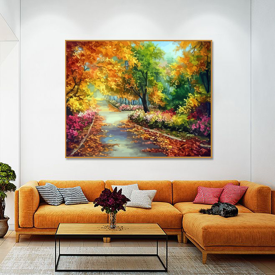 EverShine Painting By Numbers Natural Scenery Oil Paint By Numbers For Adults Autumn On Canvas HandPainted Home Decor-3