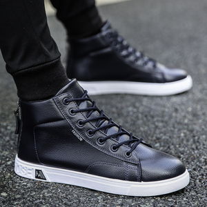 Image 5 - Autumn and Winter High top Shoes Wild Fashion Keep Warm  PU Mens Casual Shoes Trend Wear Resistant Sloe Mens Fasthion Sneakers