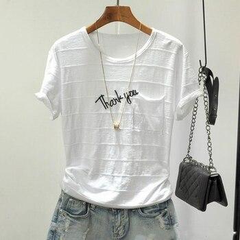Camiseta holgada blanca de verano para mujer, camiseta informal 2020 de algodón con letras estampadas, cuello redondo, manga corta, camisetas para mujer, ropa nueva de moda 5XL