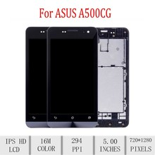 Original For ASUS Zenfone 5 A500CG LCD Display Touch Screen Digitizer Assembly For Asus A500CG Display with Frame Repacement original cell phone lcd display touch screen digitizer assembly for asus zenfone 5 a500cg a501cg t00j t00f 5 0 lcd tools