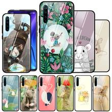Cute Animal Rat Tempered Glass Phone Case For Xiaomi Redmi 7 8A K20 K30 Note 9S 6 7 8 8T Note 9 Pro Max Shell Cover Couqe Fundas tempered glass case for xiaomi redmi note 9s 6 7 8 8t 9 pro max redmi 7 8a k20 k30 pro couqe cover dragon ball z tattoo