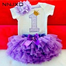 Летнее платье для маленьких девочек, милая Одежда для новорожденных девочек на 1-й день рождения, детское боди, комбинезон + юбка-пачка с обор...