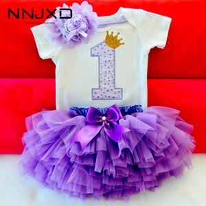 Little Girls Summer Dress Cute Newborn Baby Girl Clothes 1st Birthday Baby Bodysuit Romper+Ruffles Tutu Skirt +Headband Outfits(China)