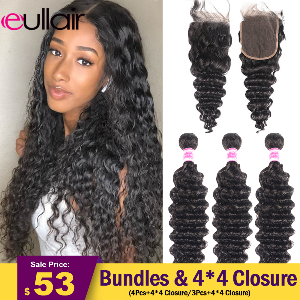 eullair Deep Wave Hair Bundles With Closure 3/4 PCS Human Hair Bundles With 4x4 Lace Closure Deal 10