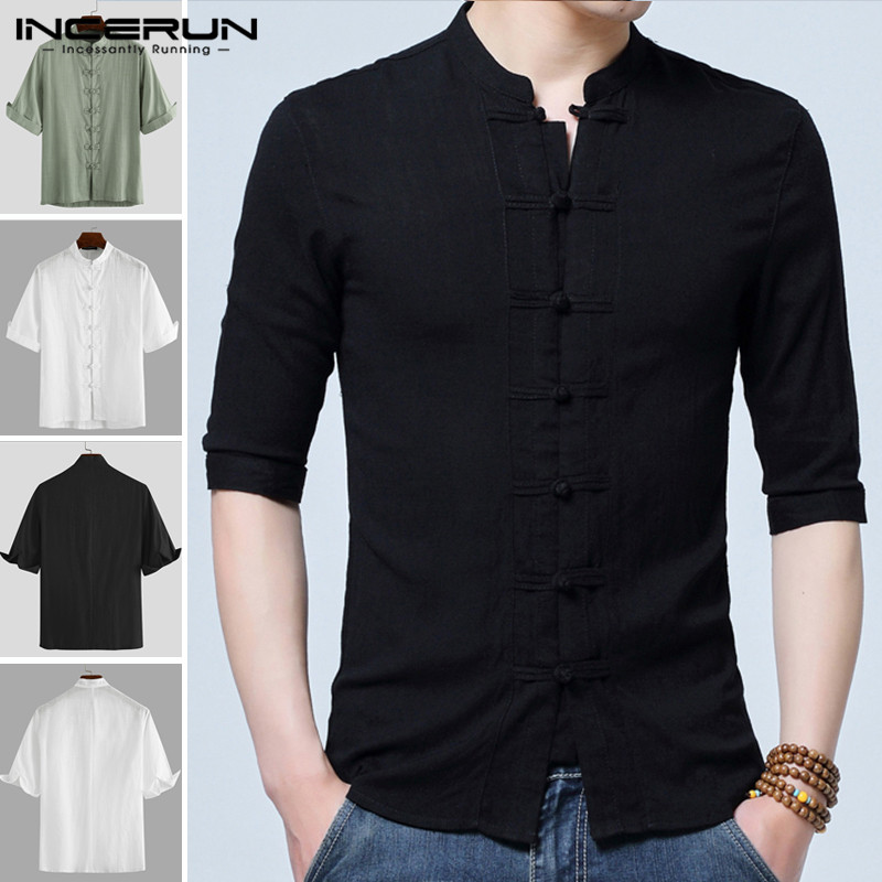 INCERUN 2020 Mens Vintage Shirt Men Casual Half Sleeve Cotton Solid Elegant Stand Collar Chinese Style Tang Suit Plus Size