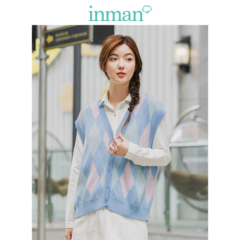 INMAN 2020 Spring New Arrival Literary Style V Neck Diamond Lattice Pattern Vest-type Cardigan