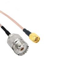 Adaptador de crimpado de enchufe macho UHF SO239 hembra PL259 a SMA, Cable de puente RG316, coleta