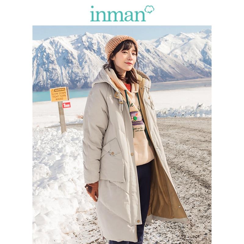 INMAN 2019 Winter New Arrival Fashion Split Color Hooded Big Pocket Warm Women Long   Down     Coat