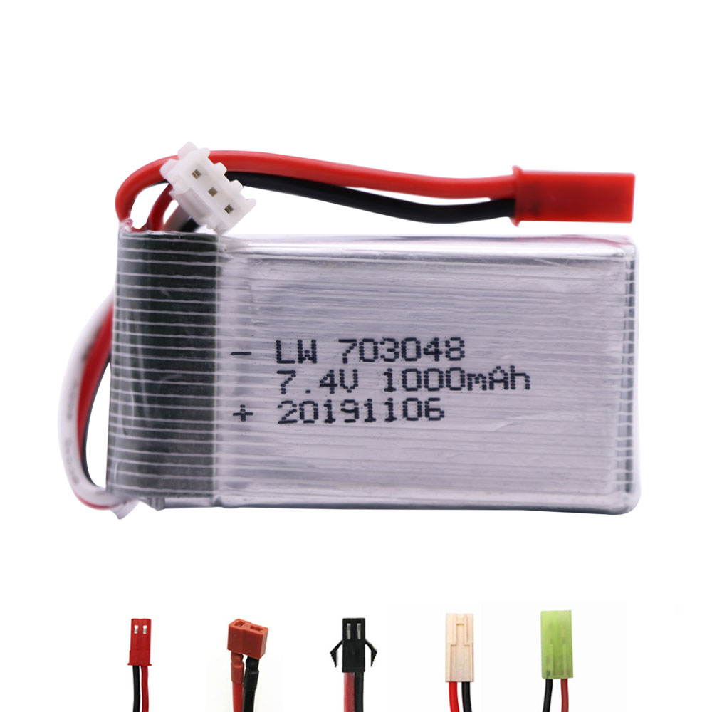 703048 7.4V 1000mah 2S Lipo Battery JST/SM/T/EL-2P Plug For MJXRC X600 U829A U829X X600 F46 X601H JXD391 FT007 RC Toys Accessory