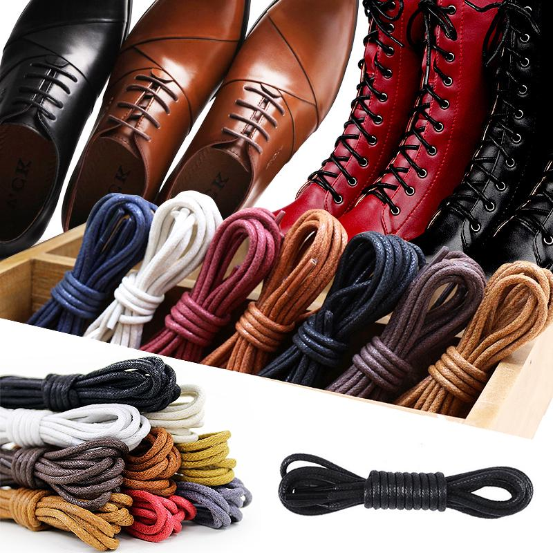 1Pair Leather Shoelaces Cotton Waxed Shoelaces Round Shoe laces Boot Shoes Laces Waterproof Leather Shoelace For Shoes Strings