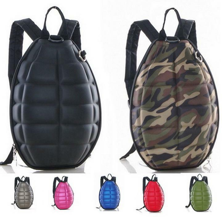 PU Canvas Turtle Shell Backpack Hand Grenade Bomb Shoulder Bag Purse For Unisex