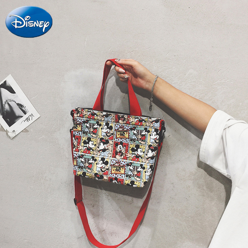 Disney Ladies Cloth Bag Portable Canvas Printing Cartoon Mickey Mouse Crossbody Pockets Waist Minnie Bag Student Totes Hand Bag