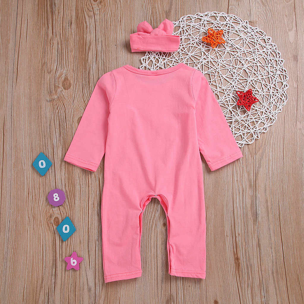 Newborn Infant Baby Girls Letter Romper Jumpsuit Headband Outfits Clothes Set