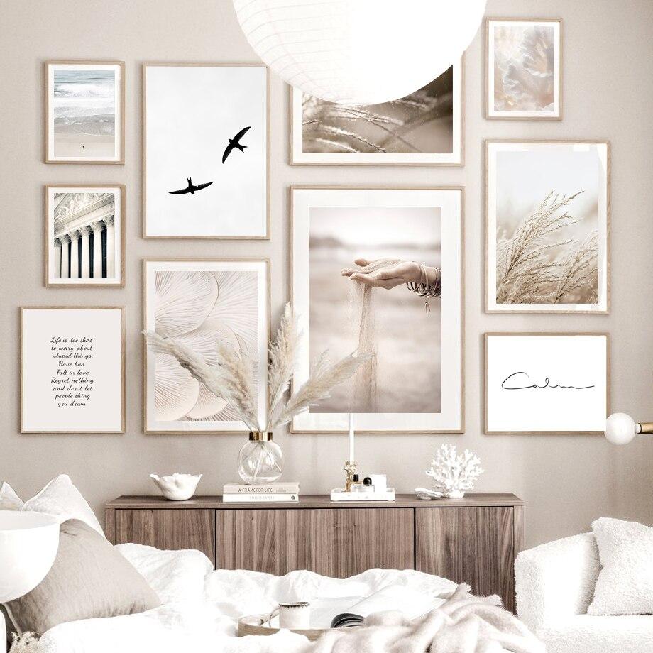 Песок падения камыш гриб птицы спокойный пляж Nordic Плакат стены искусства принт Картина на холсте, украшение картинки для Гостиная