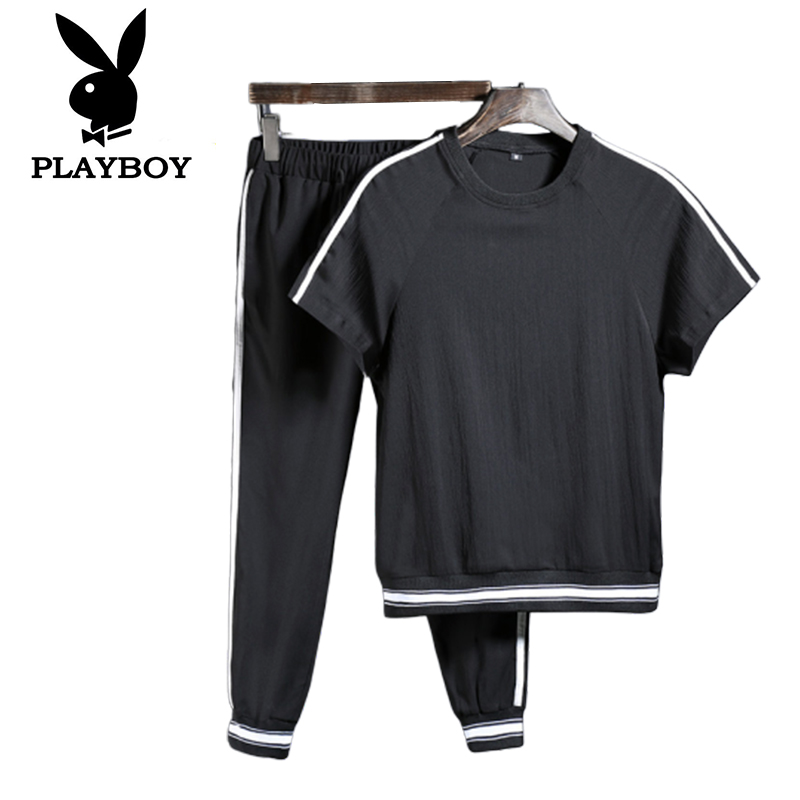 Playboy Tide Men's Youth Cotton Slim Breathable Comfortable Summer Shorts   T-shirt Suit Sports Clothes