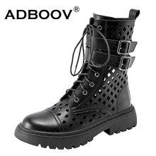ADBOOV Hollow Design Summer Boots Women Breathable Platform Martens Ankle Boots