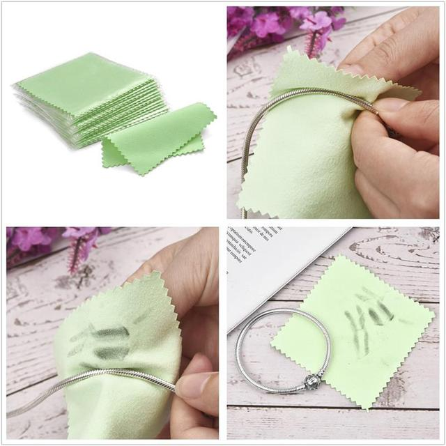 10pcs 50pcs 8x8cm Sterling Silver Color Cleaning Cloth Polishing Cloth Soft Clean Wipe Wiping Cloth Of Silver Gold Jewelry Tools 5