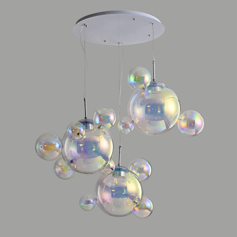 Creative Kids Room Chandeliers Modern Led Hanging Lighting Living Room Bedroom Glass Lamp Shade High-pressure Tri-color Light