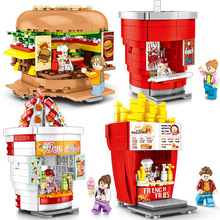 City Mini Street Toy 3D Model Retail Shop Store Hamburger Ice Cream French Fries Miniature Building Block Set Toys For Children