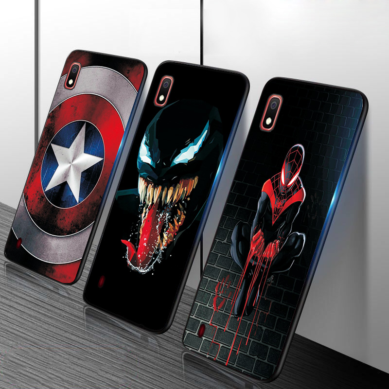 Phone Cases For <font><b>Samsung</b></font> <font><b>Galaxy</b></font> M40 M10 A10 <font><b>A20</b></font> A30 A40 A50 A70 A60 A20E Black TPU Spiderman Batman Marvel Case Shell Back Covers image