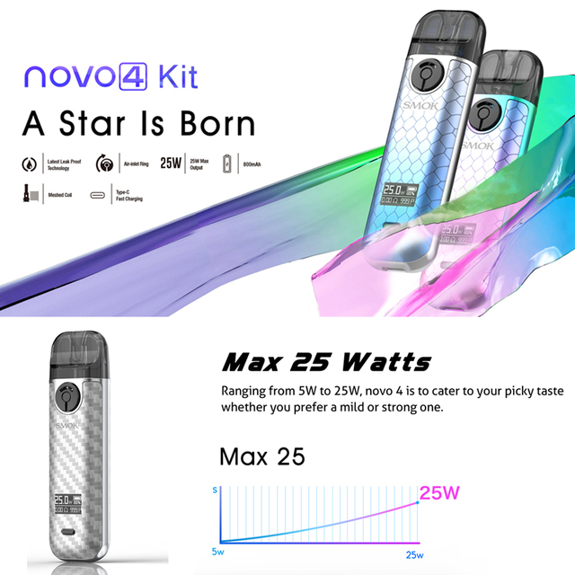 NEW! Original SMOK Novo 4 Pods Kit with 800mAh Battery NOVO4 Cartridges LP1 Coils VS NOVO 2 NOVO2 Nord 4 RPM4 W01 4