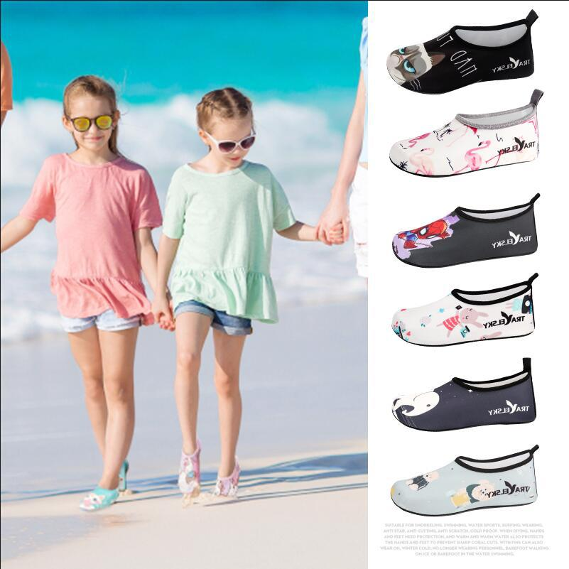 Children Beach Shoes Boys Girls Swimming Water Shoes Outdoor Swimming Shoes Cute Cartoon Kids Slippers Surf Upstream Light Shoes