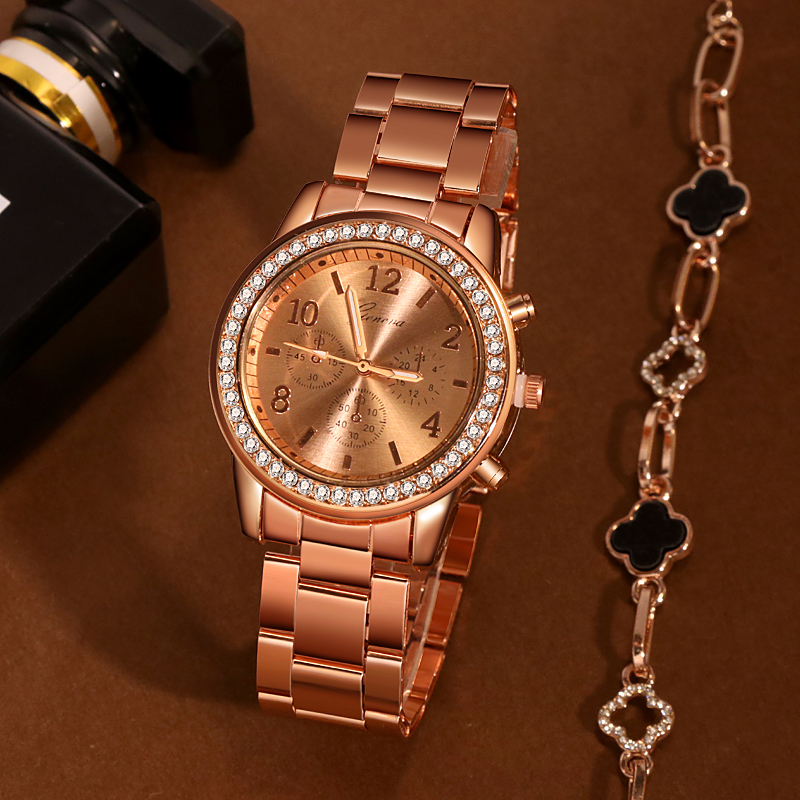 Women's Geneva Classic Bracelet Watches Luxury Rhinestone Watch Women Watches Rose Gold Women's Watches Female Clock Reloj Mujer