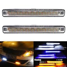 LED DRL Daytime Running Lights Turn Signal Flowing Light Fog Lamp 12V Waterproof White DRL Light Yellow Turning Blue Drving Lamp цена в Москве и Питере