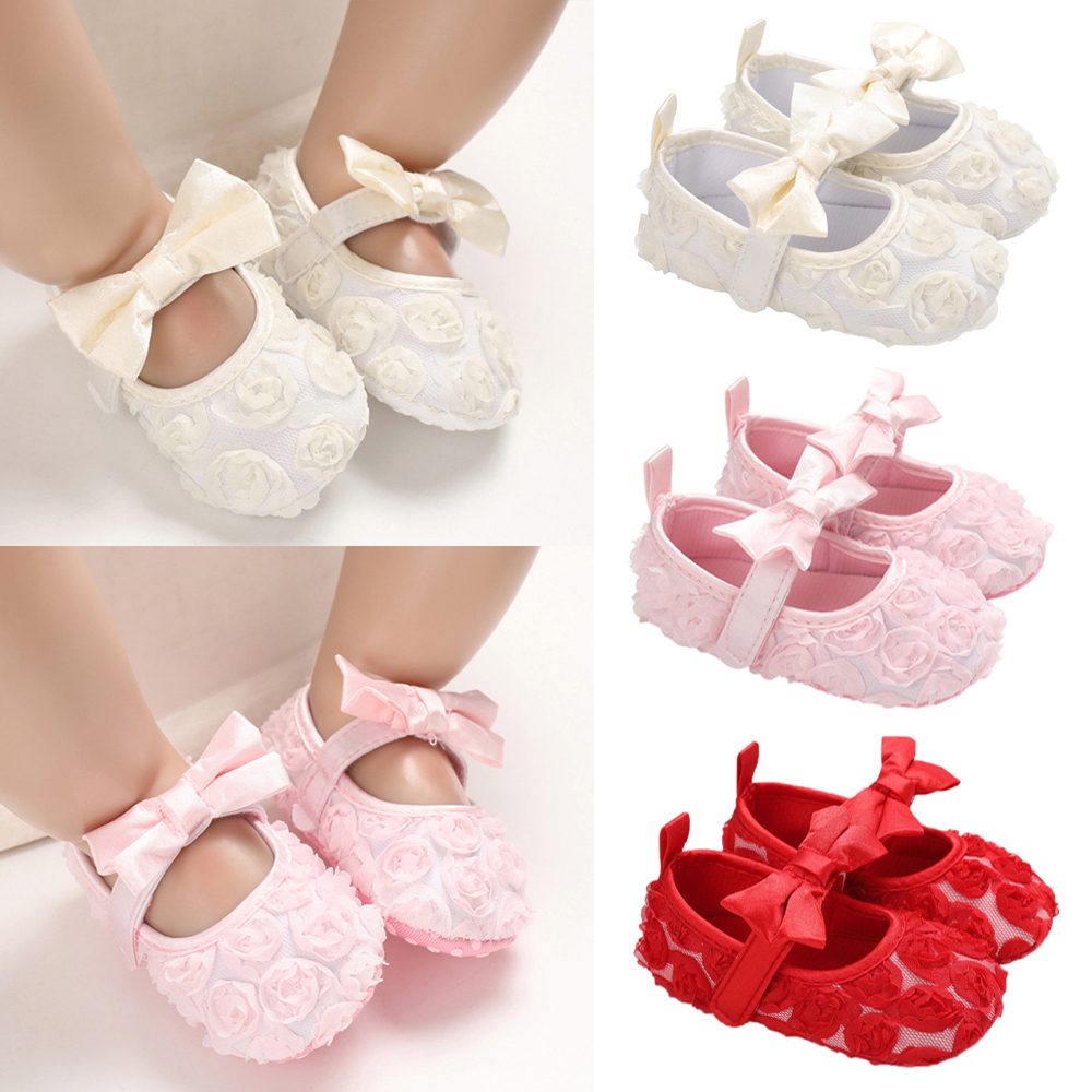 Baby Casual Shoes For Girls Summer Cute Baby Bownot Flowers Princess Shoes Kawaii Baby First Walkers Shoes D40
