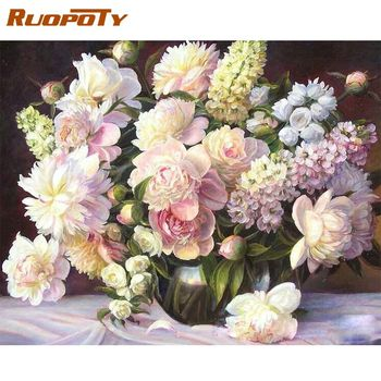 RUOPOTY  Pink Flowers Frame DIY Painting By Number Modern Acrylic Paint On Canvas Painting Unique Gift For Home Decor Art