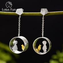 Lotus Fun Real 925 Sterling Silver Earrings Creative Handmade Fine Jewelry Meeting Love With Cat Drop Earrings for Women Brincos