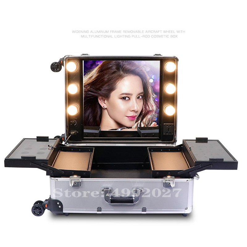 New Cosmetic Case Box LED Mirror Lighted Makeup Travel Suitcase Artist Portable Dressing Table With Legs Rolling luggage