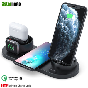Image 1 - 6in1 Multifunction Quick Wireless Charging Station for iPhone 11pro Xs Max Xr 8 USB Charge Dock for Apple iWatch 5 4 3 Earphone2
