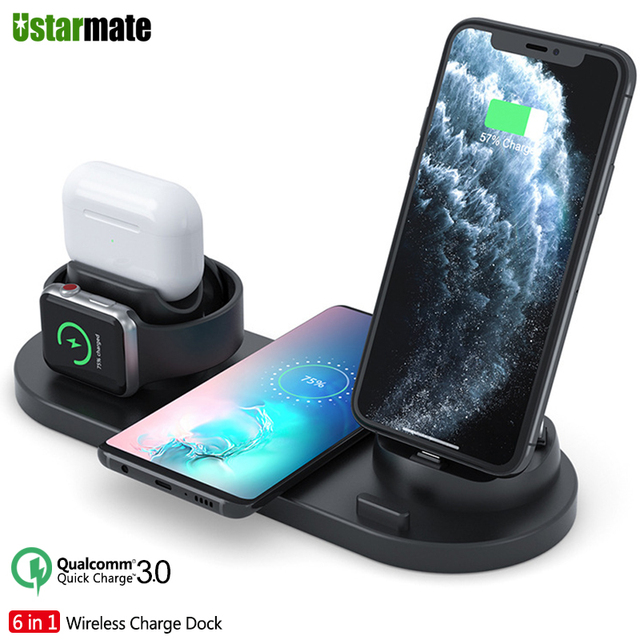 6in1 Multifunction Quick Wireless Charging Station for iPhone 11pro Xs Max Xr 8 USB Charge Dock for Apple iWatch 5 4 3 Earphone2
