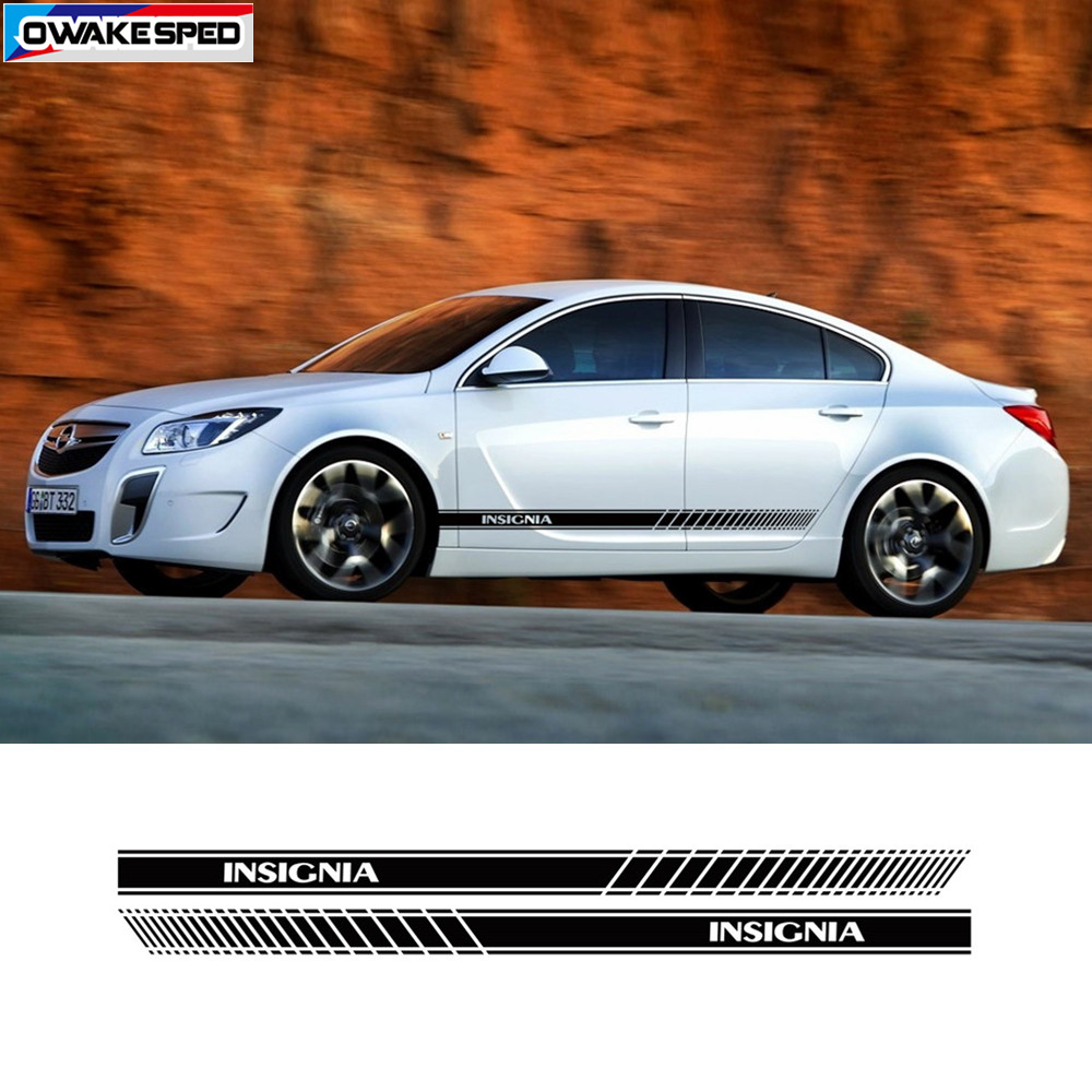 For Opel Insignia OPC Sport Stripes Car Styling Door Side Skirt Sticker Auto Body Decor Vinyl Decals Exterior Accessories