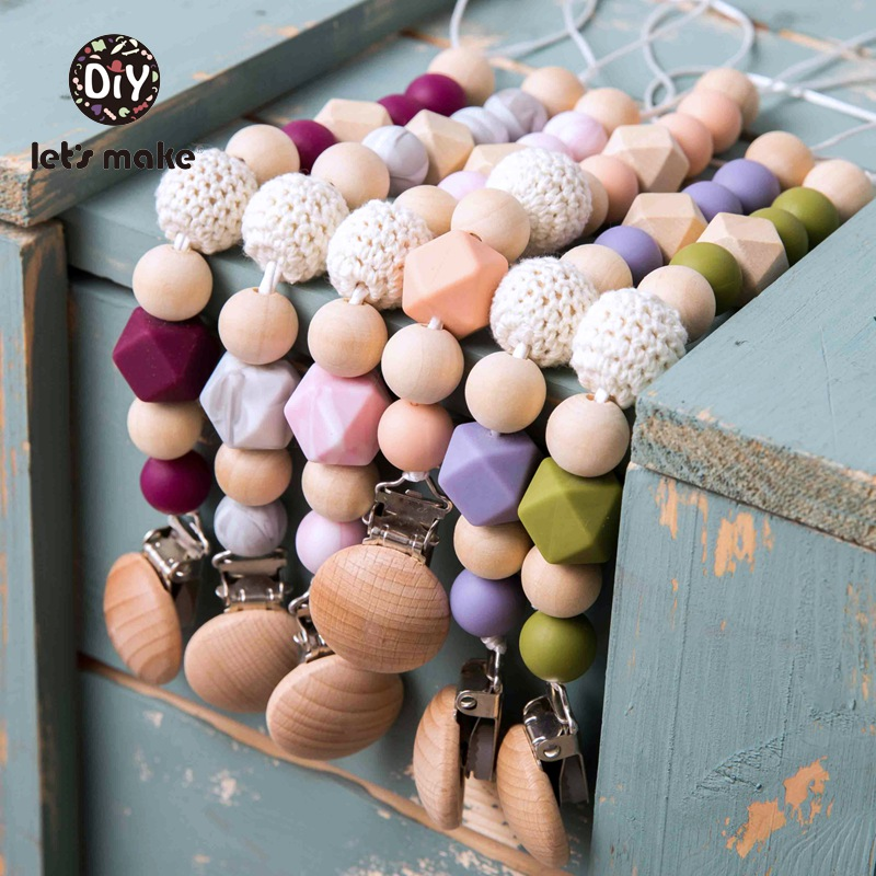 Let's Make Pacifier Chain Nimbler For Feeding Wooden 1PC Crochet Beads Gift Silicone Beads BPA Free Personalized Pacifier Clip
