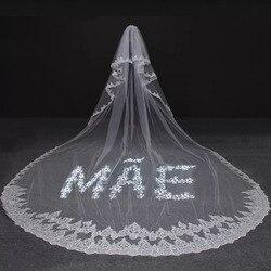 Paillettes paillettes dentelle longue voile de mariage personnalisé avec nom lettre voile de mariée MAE/PAI voile