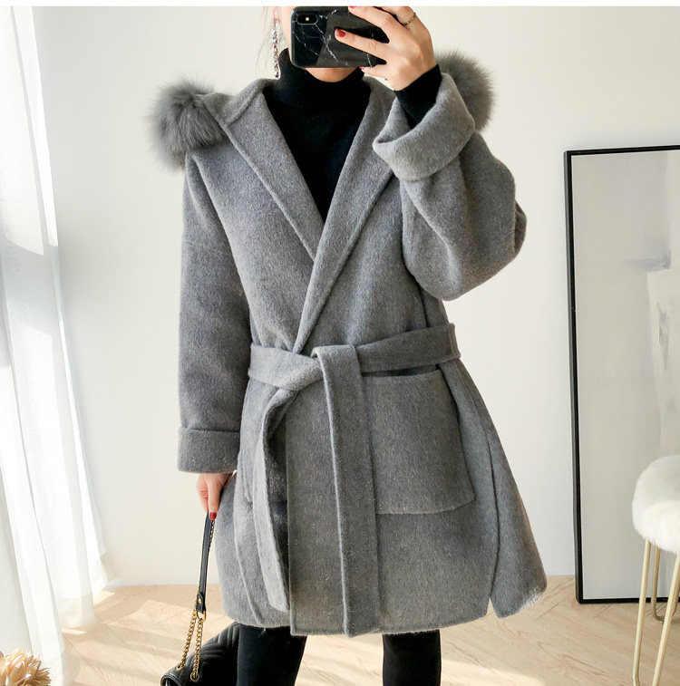 Casaco de lã de cashmere feminino com gola de pele de raposa real plus size 2019 moda inverno casaco feminino solto alta qualidade