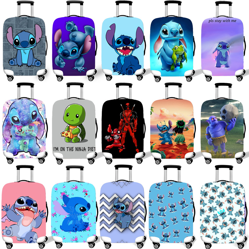 Elastic Luggage Protective Cover Case For Suitcase Protective Cover Trolley Cases Cartoon 3D Travel Accessories Stich Pattern