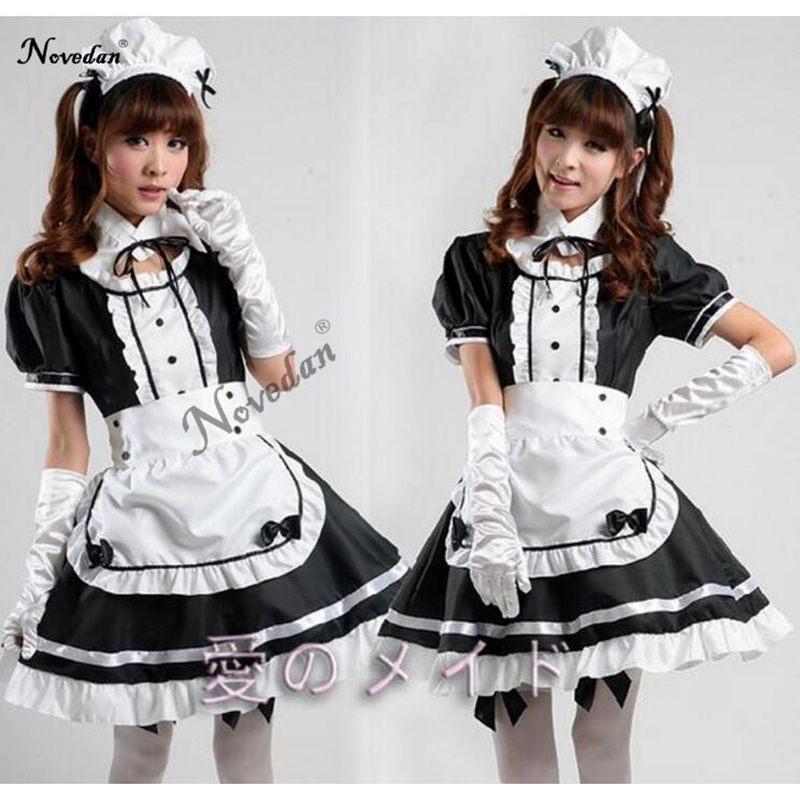<font><b>Sexy</b></font> French Maid Costume Sweet Gothic <font><b>Lolita</b></font> Dress Anime <font><b>Cosplay</b></font> Sissy Maid Uniform Plus Size Halloween Costumes For Women image