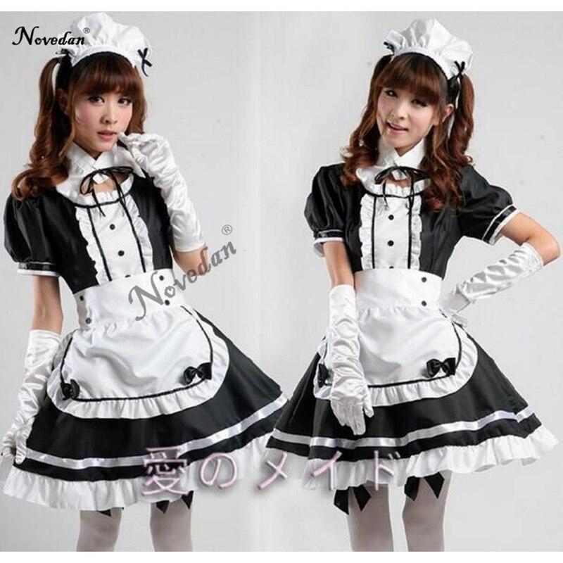 Sexy francês maid traje doce gothic lolita vestido anime cosplay sissy maid uniforme plus size trajes de halloween para mulher
