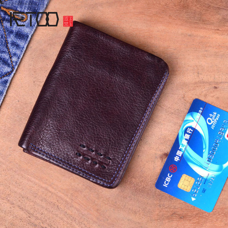 AETOO Design Original Handmade Genuine Leather Vintage Men Wallet Cow Leather Vertical Pleated Wallet Short Bifold Purse