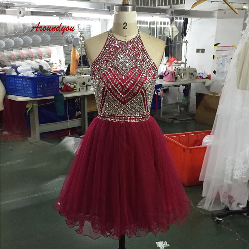 Sexy Burgundy Short Cocktail Dresses Party Plus Size Ladies Women Formal Beaded Graduation Prom Homecoming Dresses
